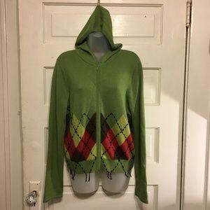 CAbi Sz L Sweater Hooded Pistachio Green Argyle